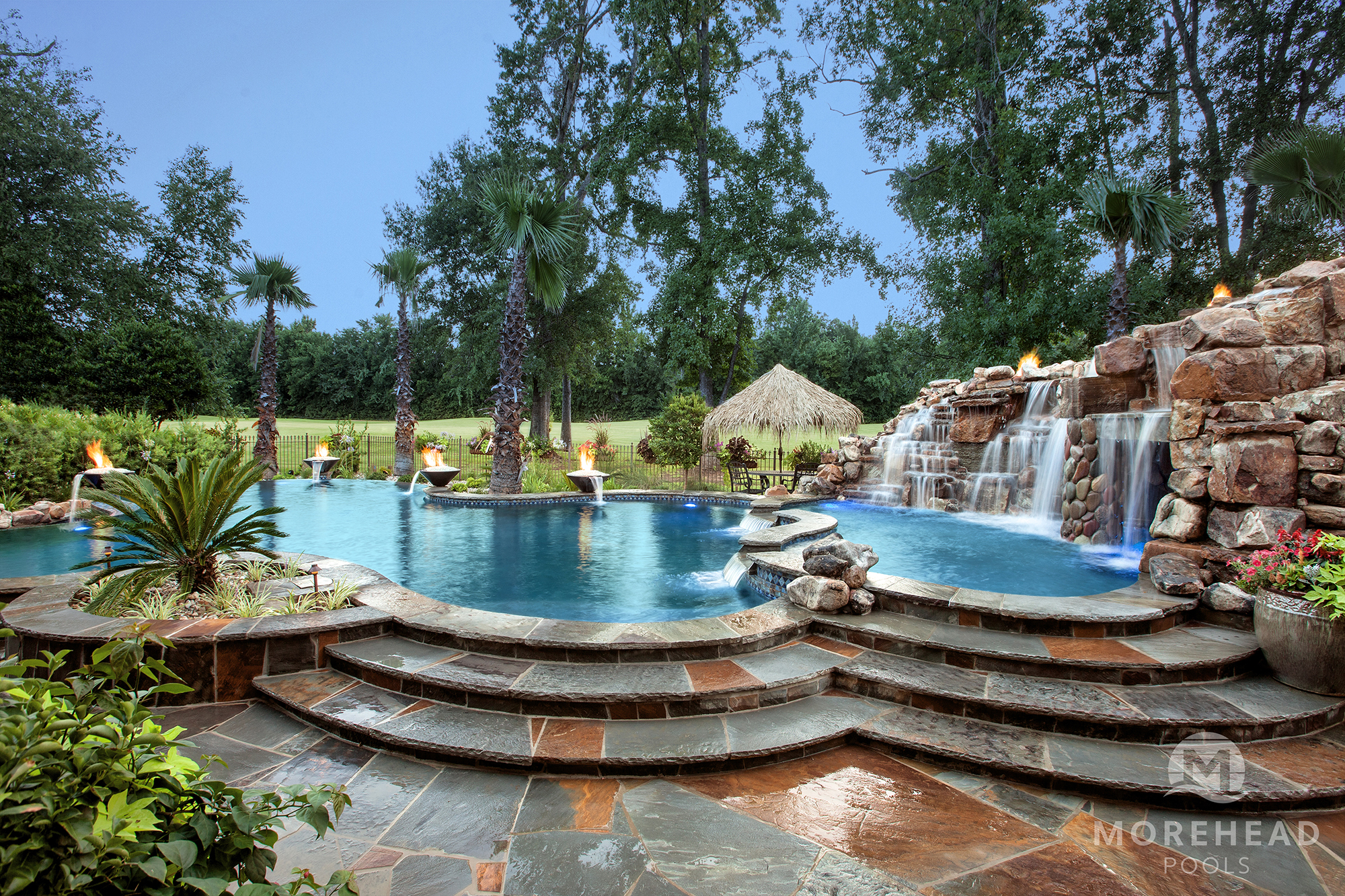 Swimming Pool Waterfalls In Shreveport Bossier City La Morehead Pools