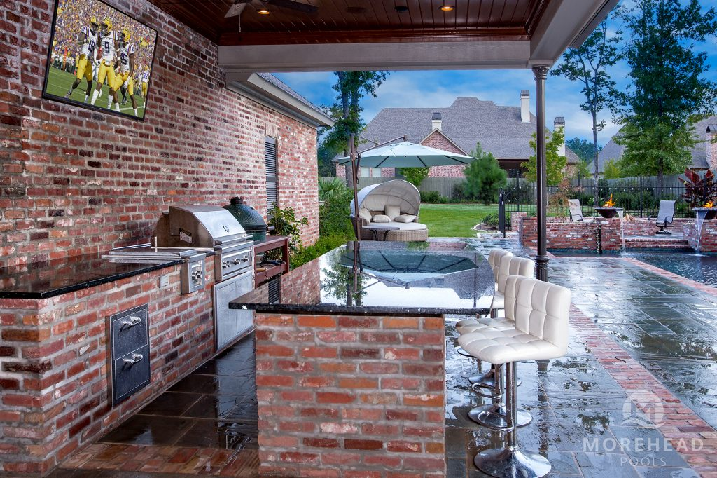 Outdoor entertainment area near pool
